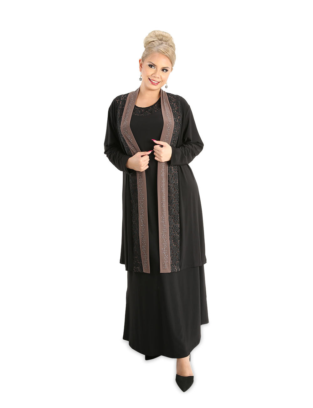 Angelica Long Dress With Jacket Black Fab For Less