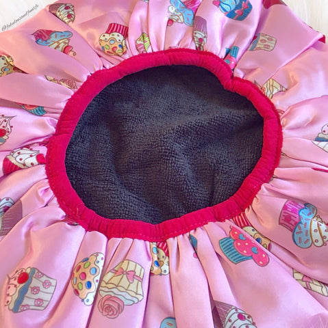 Dilly's Collection Cupcakes Shower Cap Lined With Microfibre