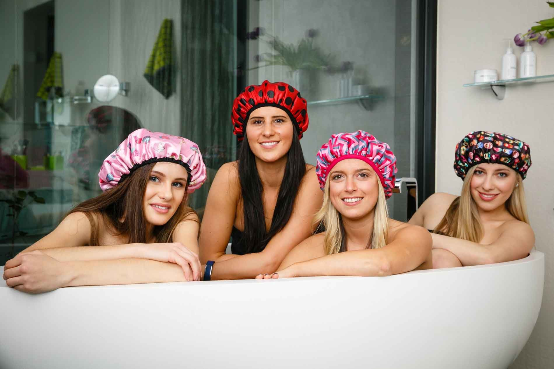 Our Beautiful Microfibre Shower Cap Collection in store today!