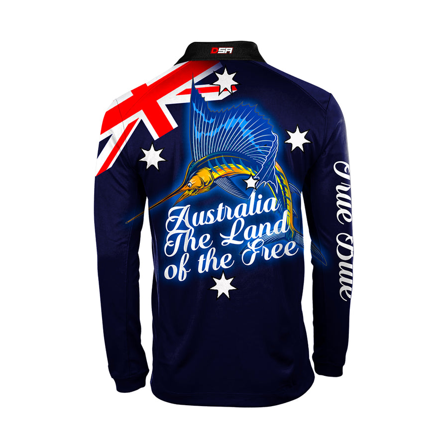 Blue fishing long sleeve, Back view