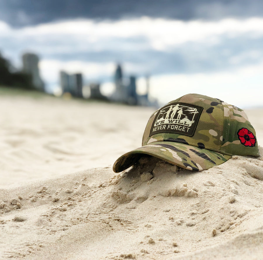 Never forget camo cap on white sand