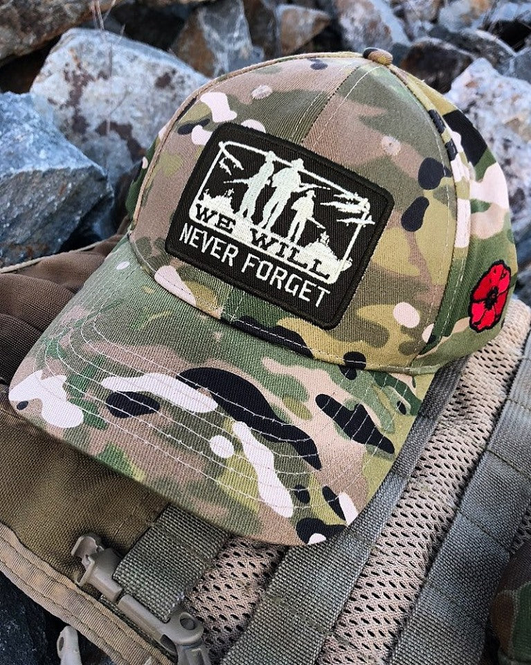Never forget camo cap close up picture