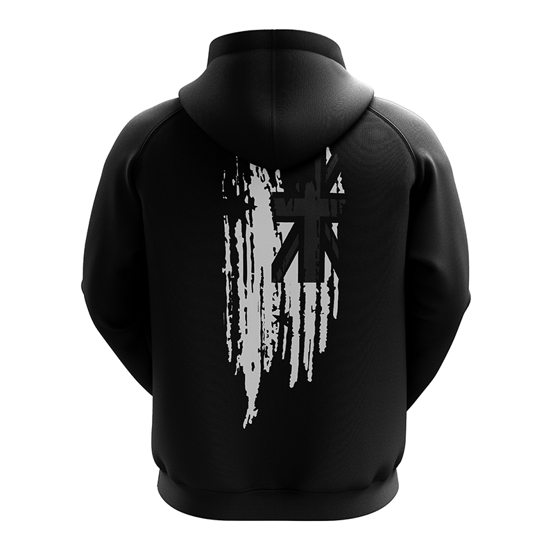 Salute To Heroes Black Hoodie, Back view