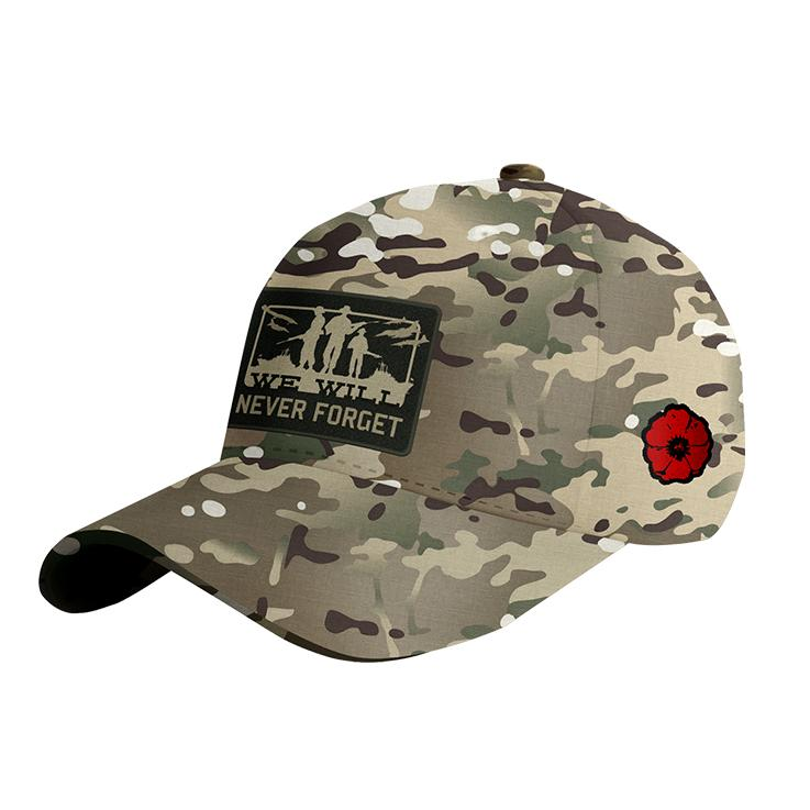 Never forget camo cap on white background