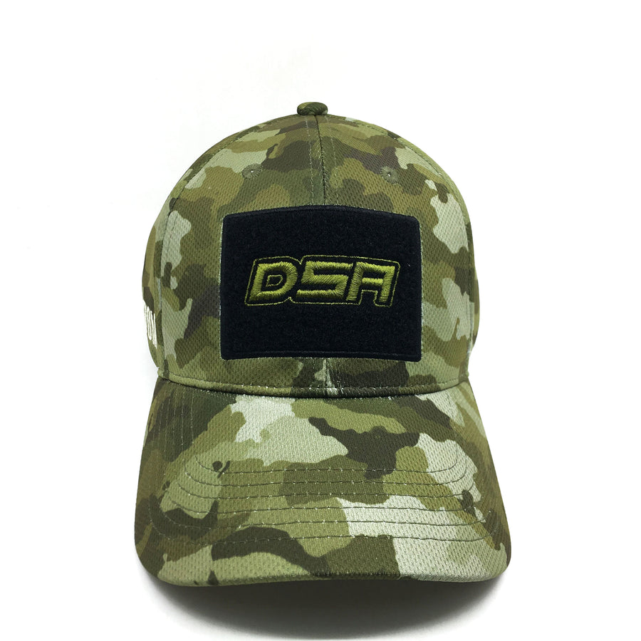 NOFA mens cap, Frontal view with DSA patch