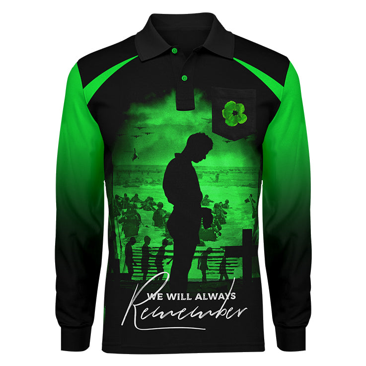 Never Forget Green Long Sleeve, Front View