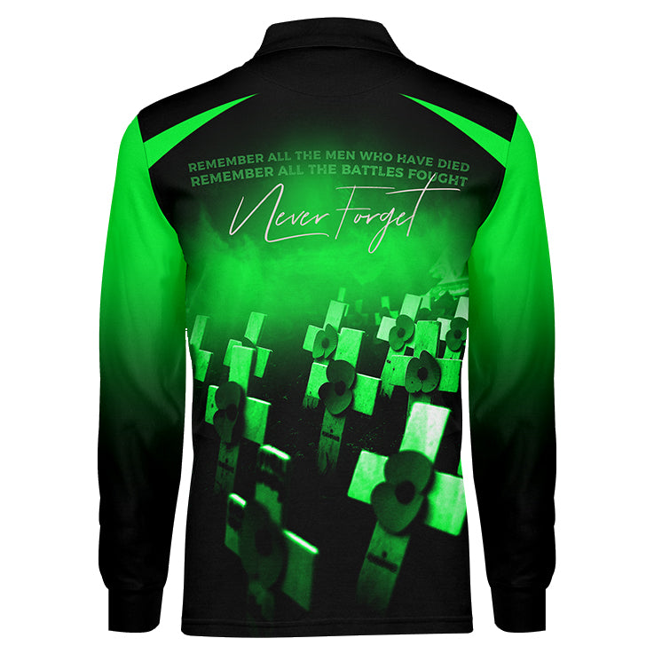 Never Forget Green Long Sleeve, Back View