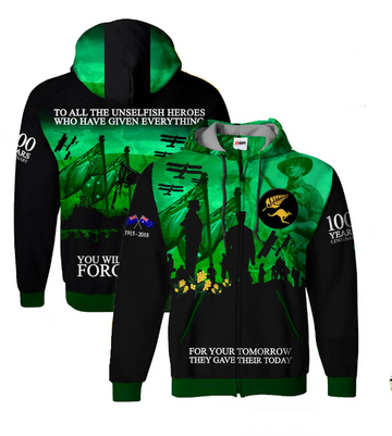 Centenary Significance Hoodie, Font and Back View