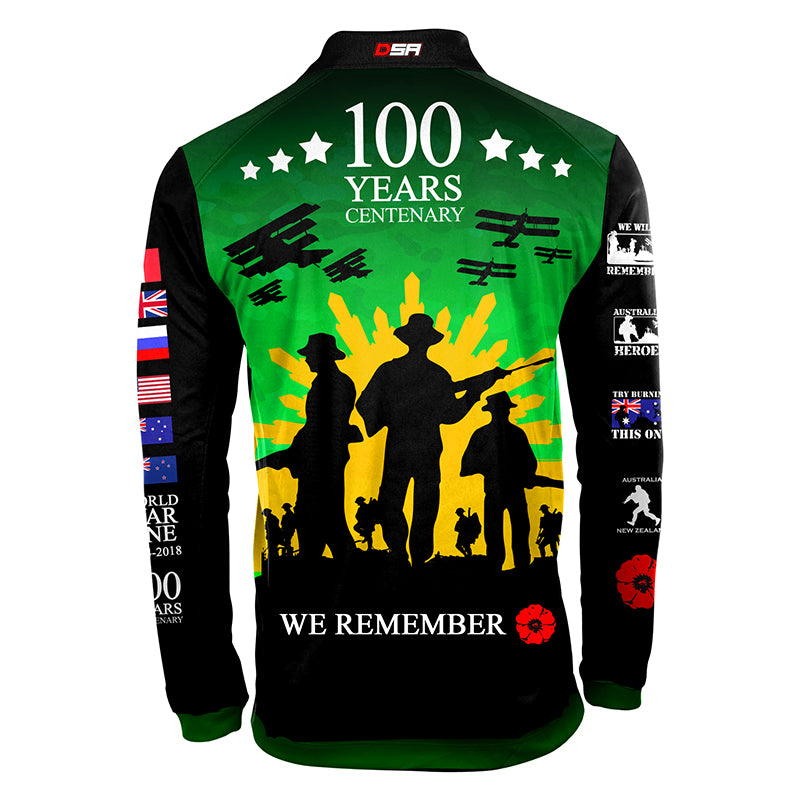 The Spirit Lives On Centenary Green Longsleeve Polo - LIMITED