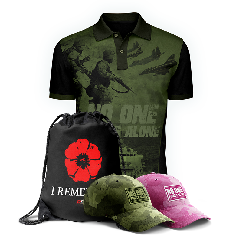 NOFA camouflage t-shirt, caps, and string bag