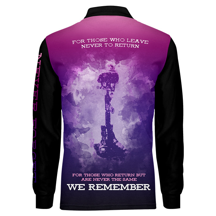 Never Forget Ladies Long Sleeve, Back View