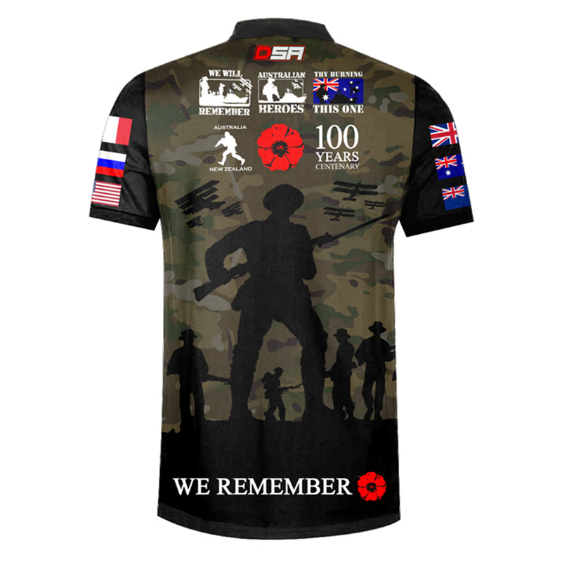 The Spirit Lives On Centenary Camo Polo, Back View