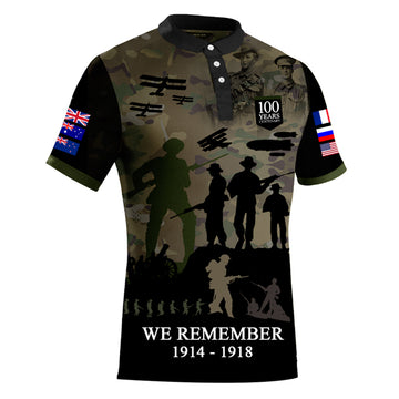 The Spirit Lives On Centenary Camo Polo, Front View