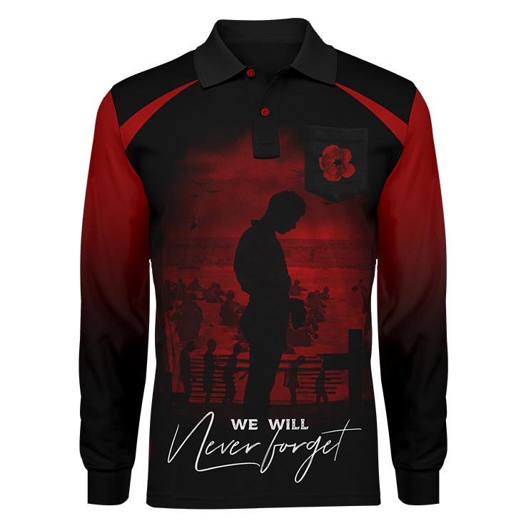Never forget red long sleeve, Front view