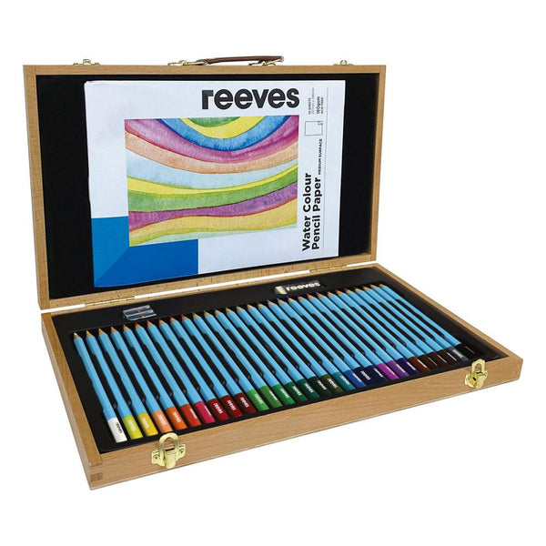 Reeves Wooden Box Watercolour Pencil Set