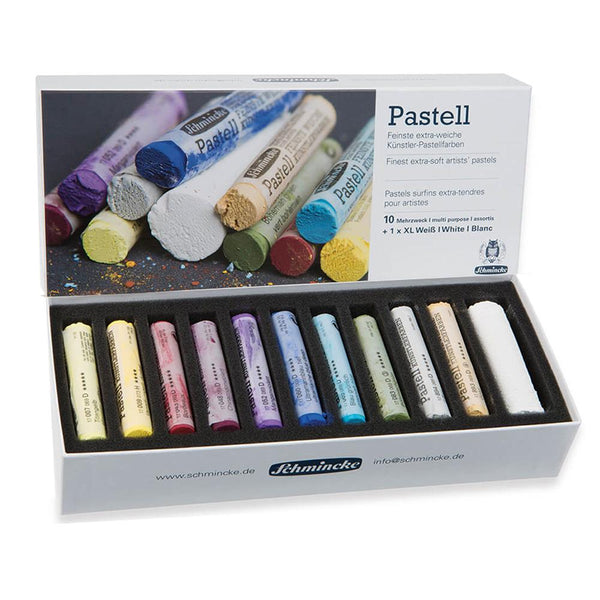 Schmincke Pastell - Finest Extra Soft Artists' Pastel - Set 10 + 1 XL White