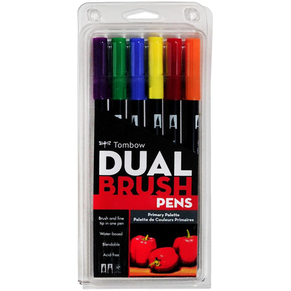Tombow Dual Brush Pen Primary Palette - Set of 6