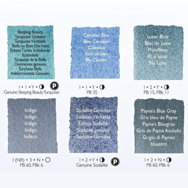 Daniel Smith Water Colour Half Pan Set - Blues