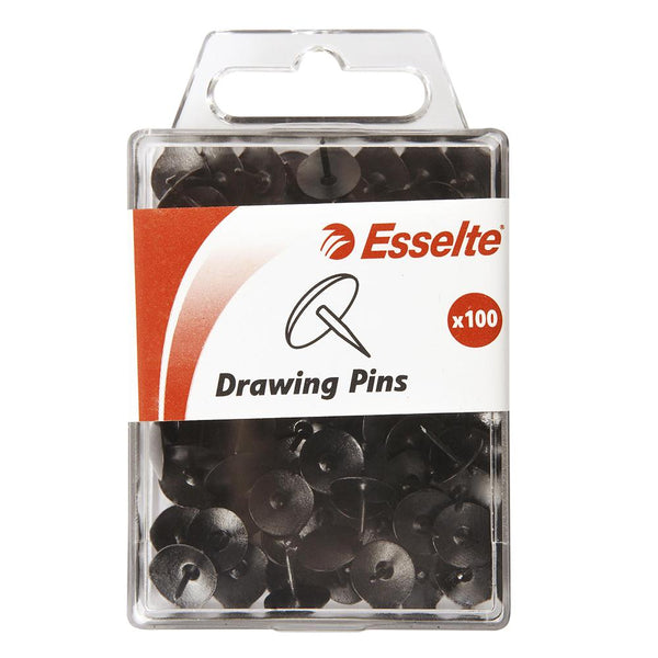 DRAWING PINS ESSELTE BLACK PK100