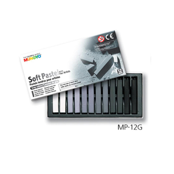 Mungyo Soft Pastels - Set of 12 Grey Colours