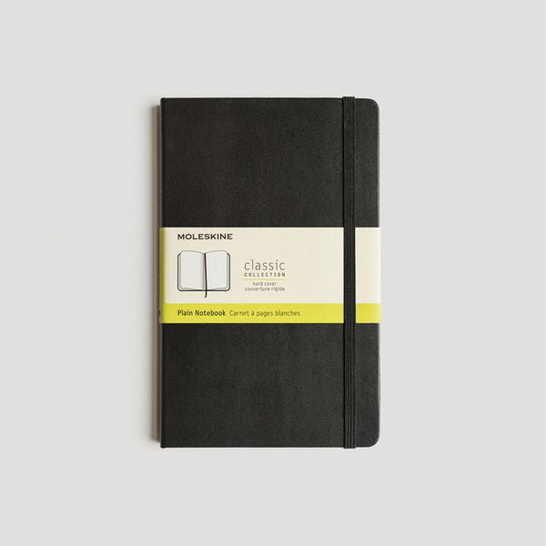 MOLESKINE - CLASSIC HARD COVER NOTEBOOK - PLAIN - BLACK (POCKET, MEDIUM & LARGE)