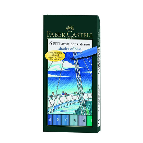 Faber-Castell Pitt Artist Pens Shades of Blue Set of 6