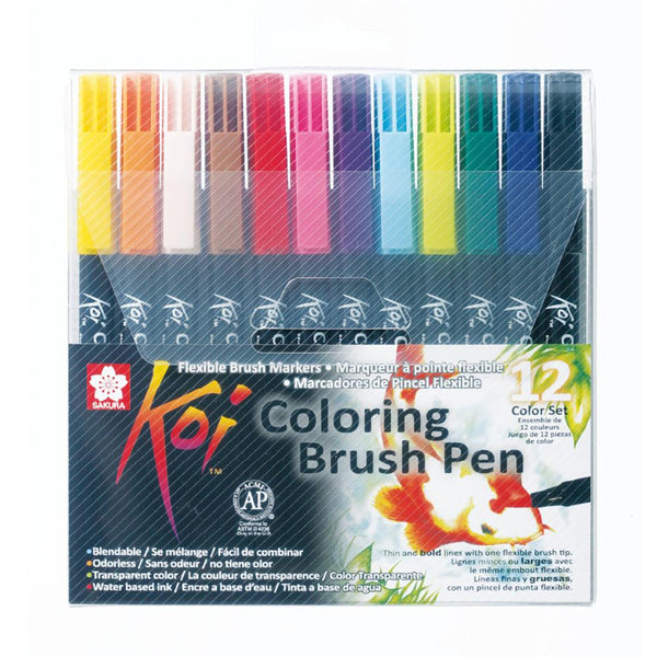 Koi Colouring Brush Pen - 12 Set