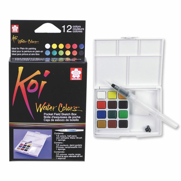Koi Water Colour Pocket Field Sketch Box - 12 Set