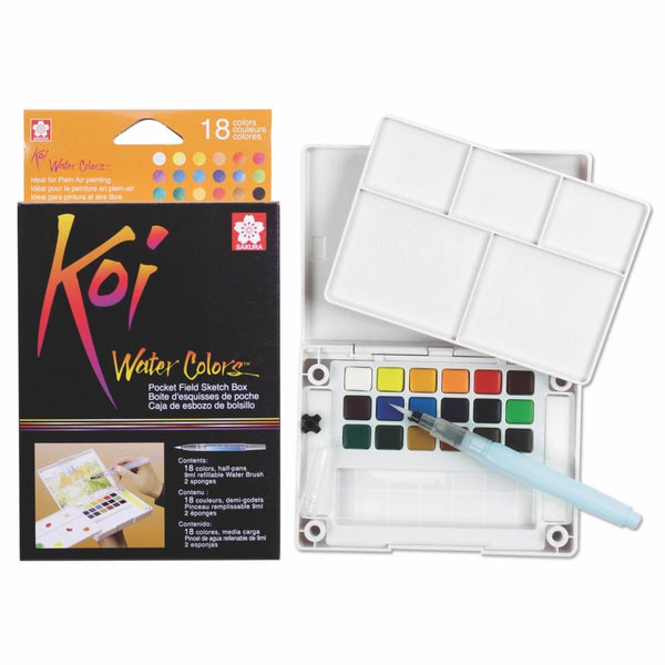 Koi Water Colour Pocket Field Sketch Box - 18 Set