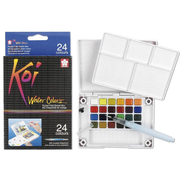 Koi Water Colour Pocket Field Sketch Box - 24 Set