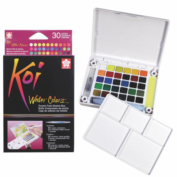 Koi Water Colour Pocket Field Sketch Box - 30 Set