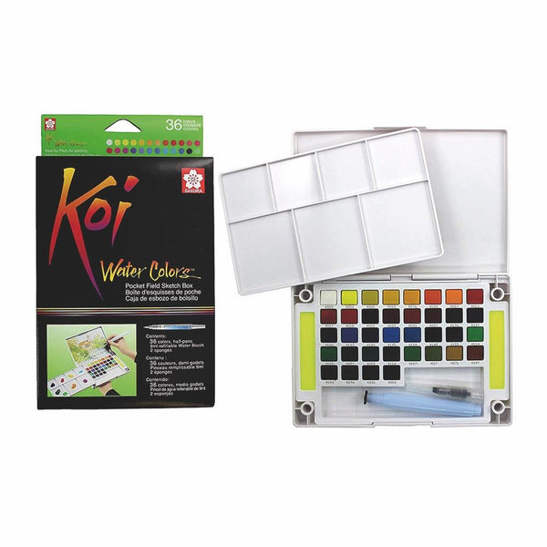 Koi Water Colour Pocket Field Sketch Box - 36 Set