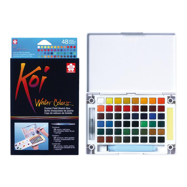 Koi Water Colour Pocket Field Sketch Box - 48 Set