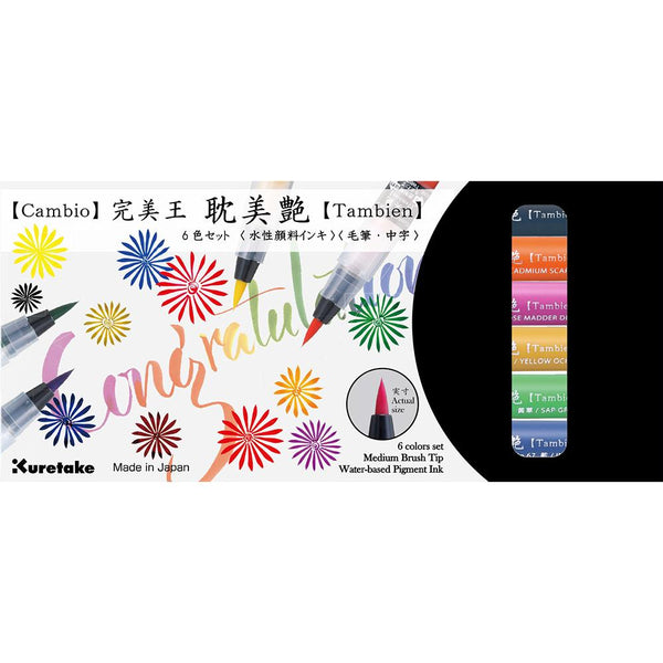 Kuretake Cambio Tambien Brush Marker- 6 Colour Set B