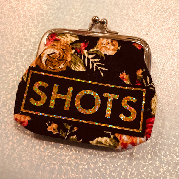 'SHOTS' coin purse. Please note colours/fabrics will vary.
