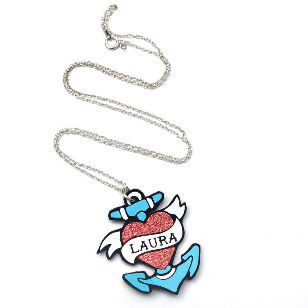 personalised sailor tattoo name necklace pop up studio