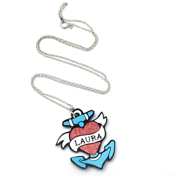Personalised Sailor Tattoo Name Necklace