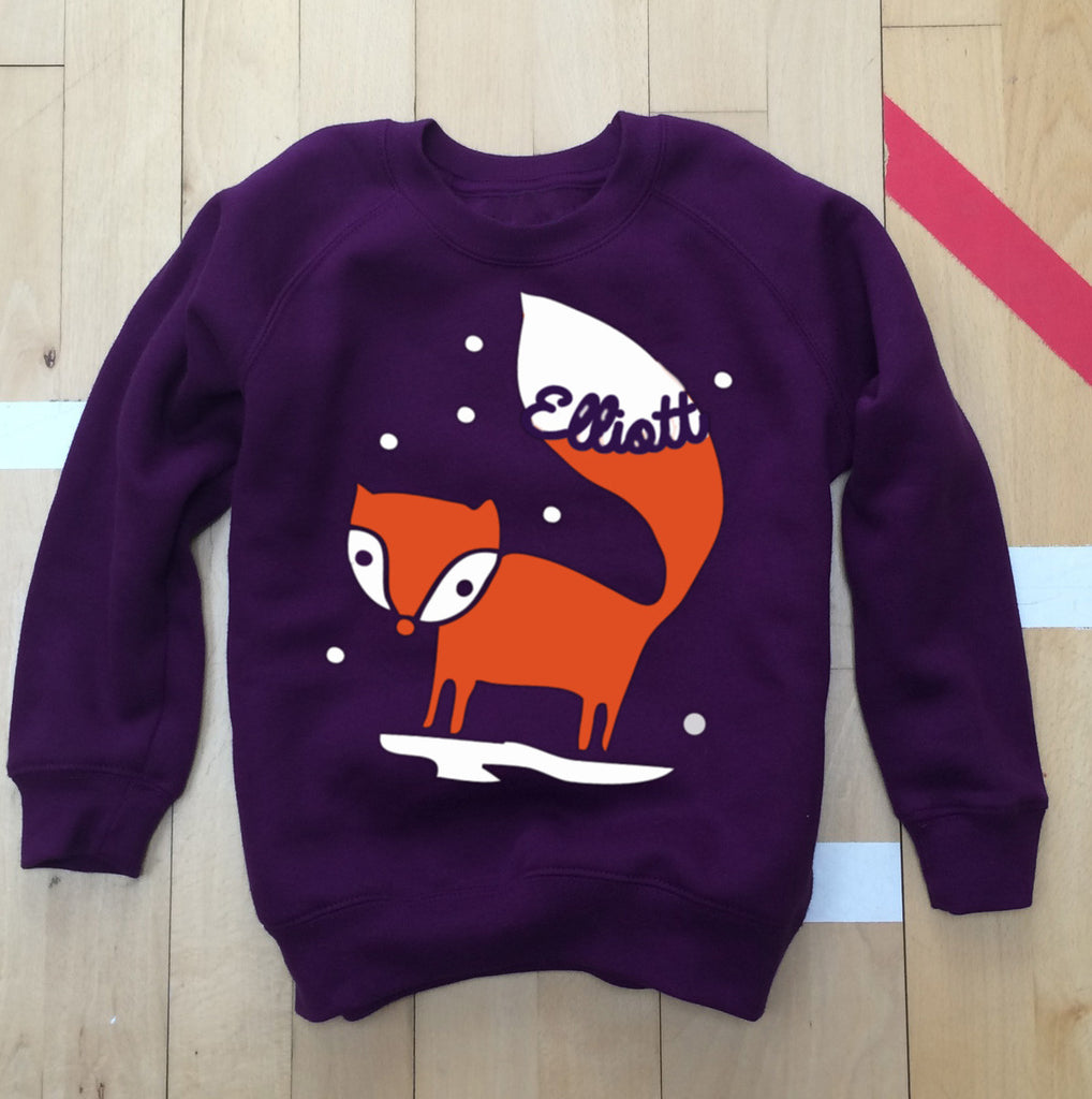 Personalised Fox In The Snow Festive Sweatshirt
