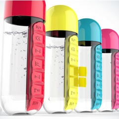 Water Bottle Combine Daily Pill Boxes