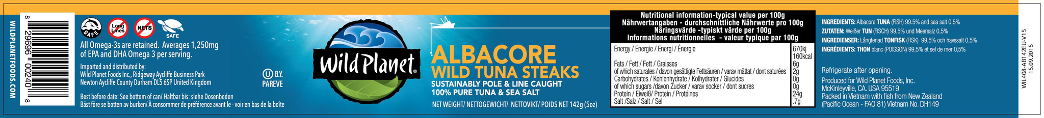 Albacore Wild Tuna Steaks 142g (6 Pack)