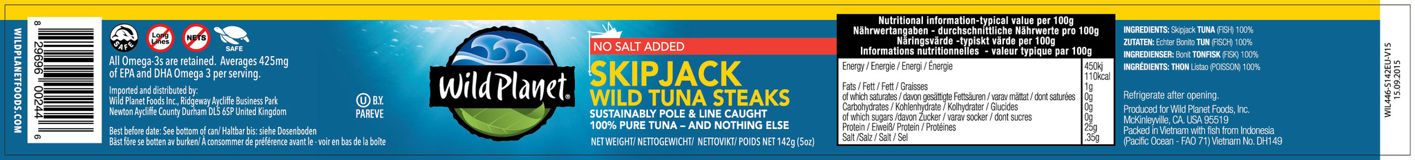 Skipjack Wild Tuna Steaks No Salt Added 142g