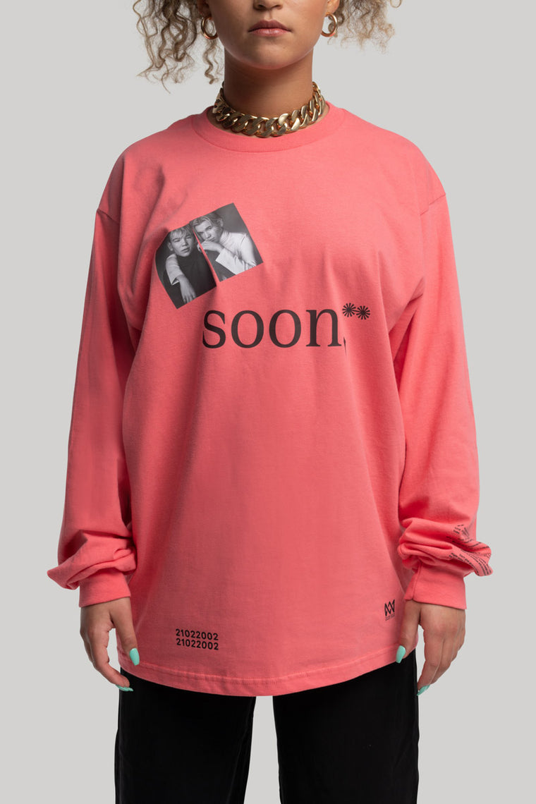 soon,** Long-Sleeved Pink T-Shirt