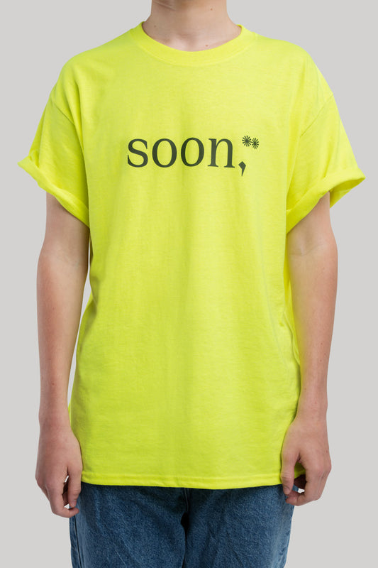 soon,** basic yellow T-shirt