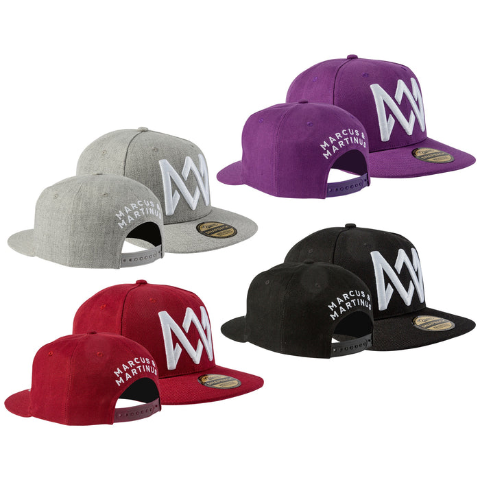 Marcus & Martinus Snapback | Red · Purple · Black · Grey. M&M caps