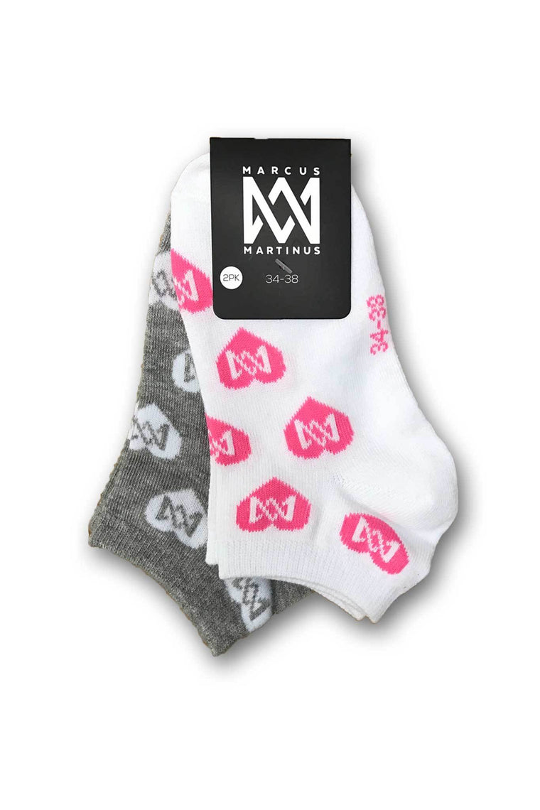 Low Cut Heart Socks 2-PK - White & Gray