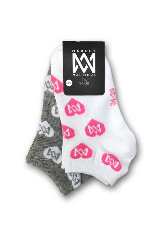Socs - Low Cut Heart Socks 2-PK - Black & White