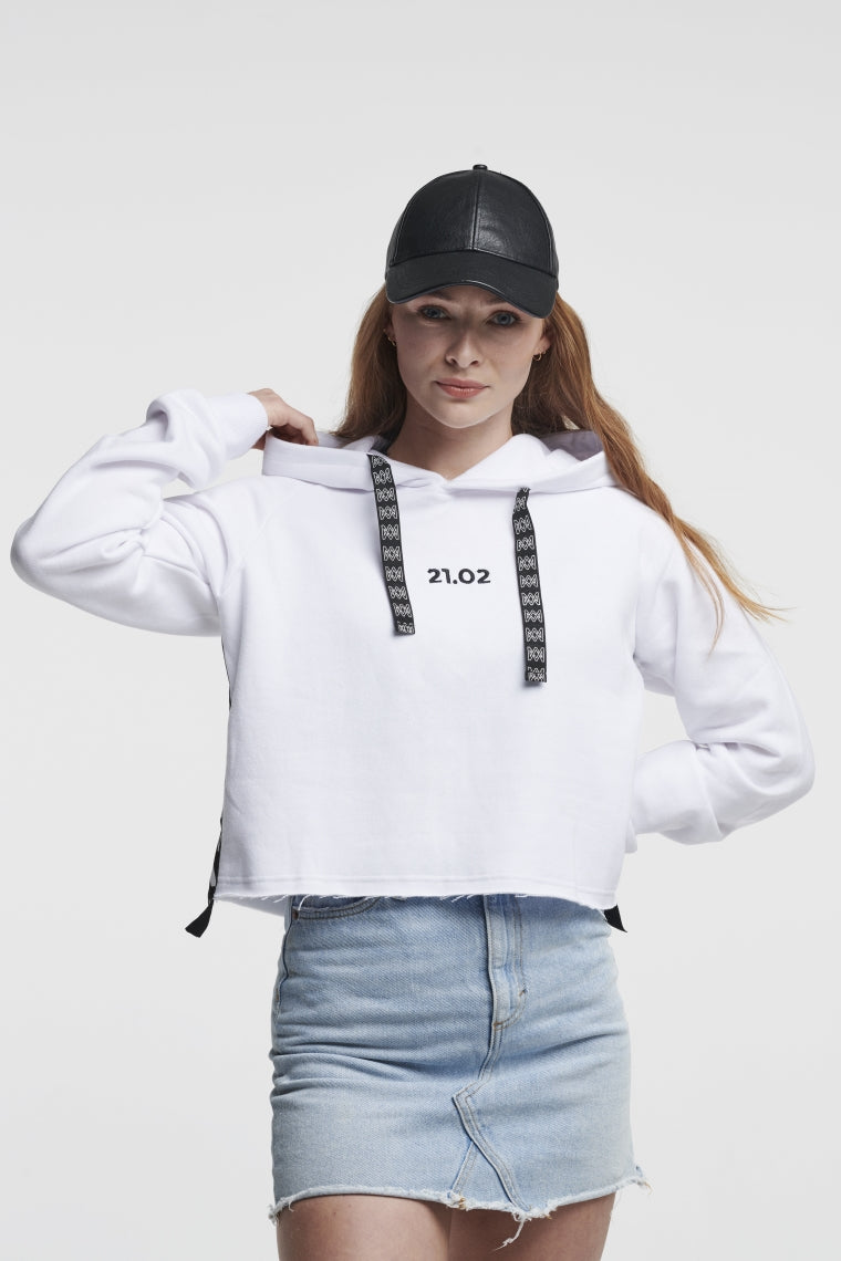 Summer Concert Collection White Cropped-Hoodie