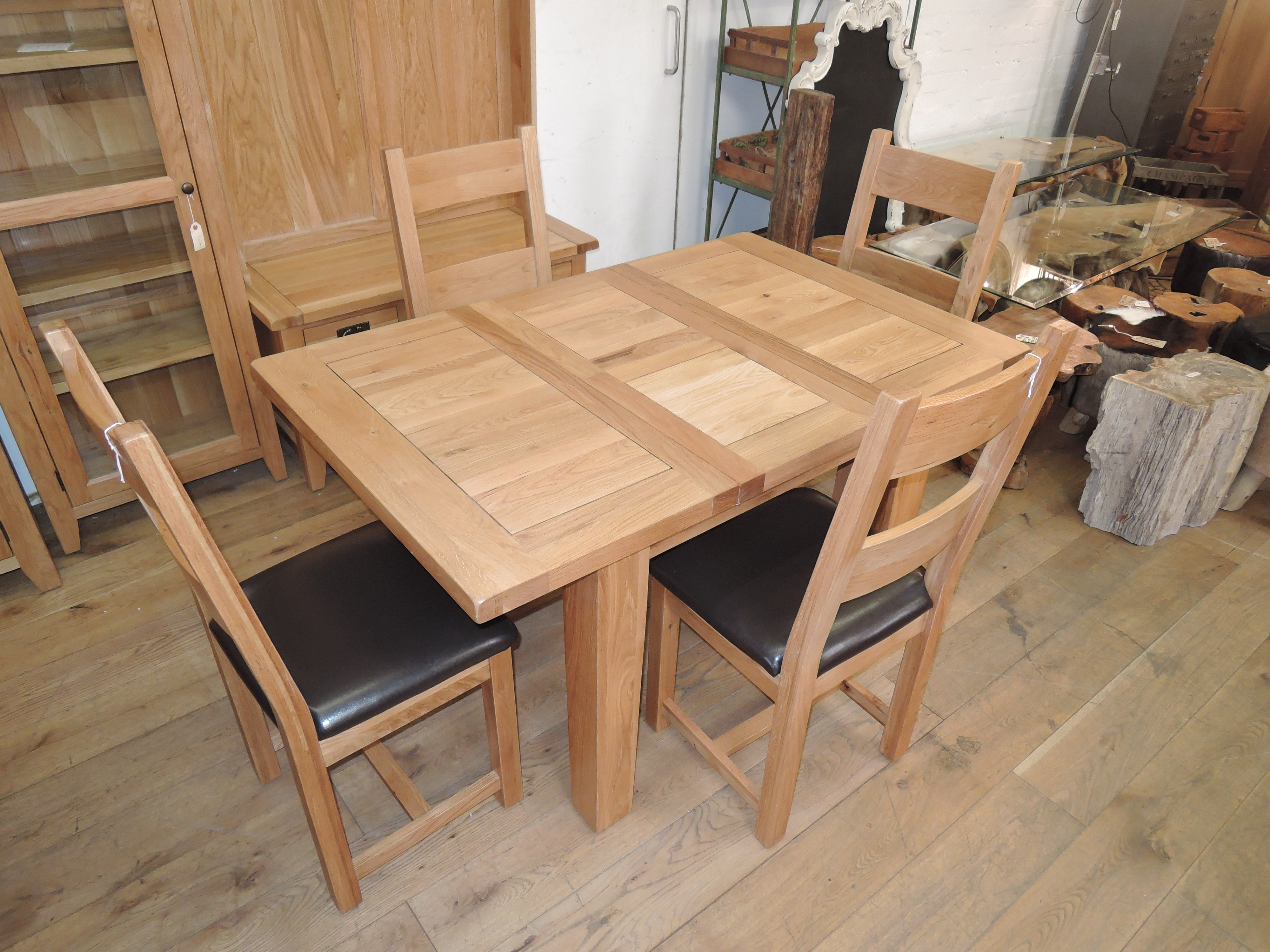Deluxe Solid Oak Extending Dining Table 110cm To 140cm 4 Oak And