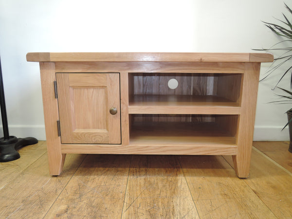 VANCOUVER PETITE OAK 1 DOOR ONE SHELF T.V UNIT NB014 STURDY SOLID UNIT