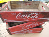 VINTAGE COLA CRATES, STORAGE PLANTS DECOR WIDTH 48CM DEPTH 32CM